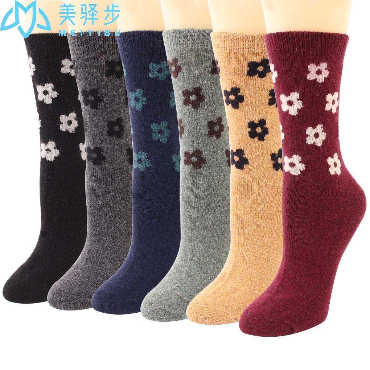 12 пар в комплекте, фабричные шерстяные зимние носки, шерстяные чулки, маленькие цветы, лидер продаж, женские шерстяные носки