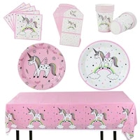 unicorn theme tableware set tablecloth cowhide paper disposable plates cups for kids girl birthday party baby shower supplies