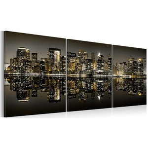 Framed Golden New York Wall Art Night City Landscape Canvas Painting Poster Nordic Picture Prints for Living Room Home Decor