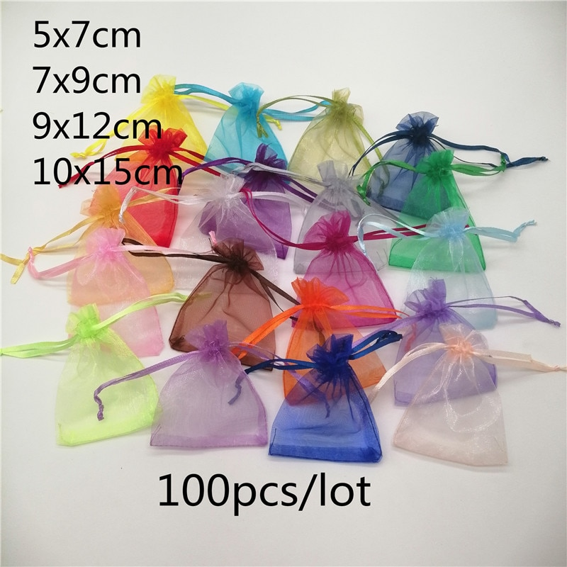 100pcs/lot 5x7/7x9/10x15cm Organza Jewelry Bags Pouch Organza Drawstring Bag Jewelry Packaging For Jewelry Pouches Jewellery Bag 30pcs lot 2size translucent packaging bag plastic bags pouches wrappers cupcake 8 5x23cm