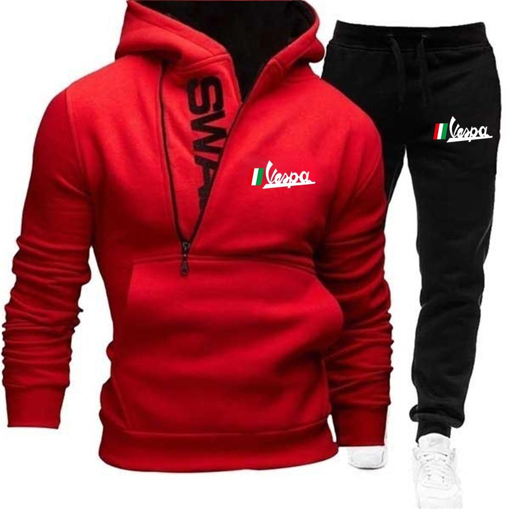 Vespa Printed Zipper Suit Stitching Hoodie Men's Cardigan Autumn Winter Hoodie Plus Velvet Sports Track Suit Men + Casual Pants velvet cropped hoodie and pants twinset