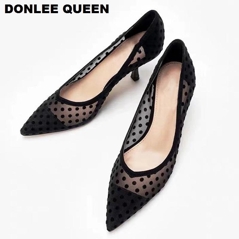 2020 الربيع رقيقة الكعوب مضخات أحذية النساء أشار تو عالية الكعب أحذية عمل البولكا نقطة شبكة Vintage مضخات الضحلة أنيقة للحزب