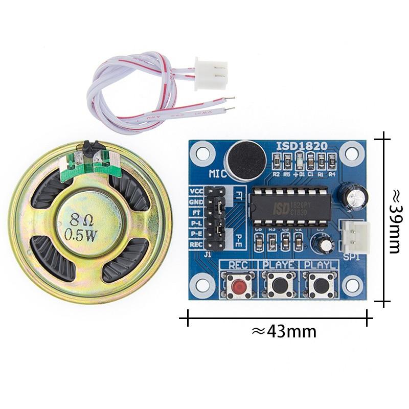 50 pçs/lote ISD1820 módulo de gravação de voz módulo da placa do módulo placa voz telediphone com Microfones