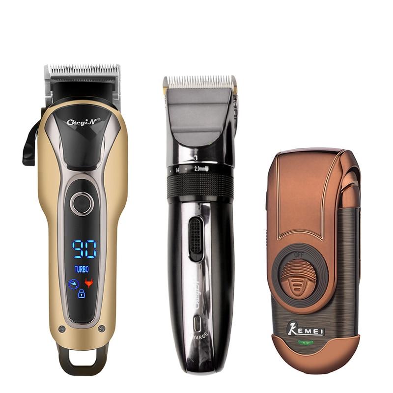Profissional recarregável aparador de pêlos máquina de cortar cabelo elétrico barbear máquina corte barba aparador barbeador 45
