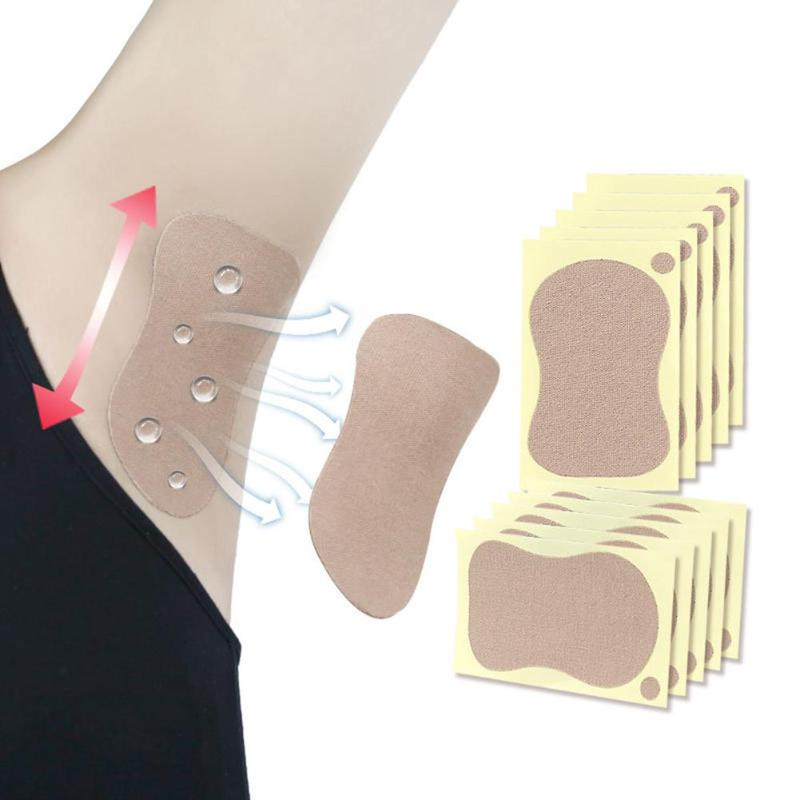 10 unids/bolsa para mujer, axilas, almohadillas para sudor, pie, axilas, antitranspirante para sudor, pegatinas antitranspirante para sudor