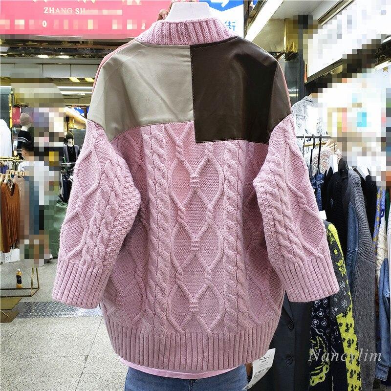 Loose Cardigan Women European Goods 2021 Autumn New Patchwork Pu Leather Sweater Coat Femme Color Patch enlarge