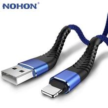 نوهون سريع تهمة كابل الشاحن قصيرة طويلة الأصلي سلك موصل معزول USB إلى كابل البرق آيفون 11 برو ماكس X XS XR 6 6s 7 8 5 5s