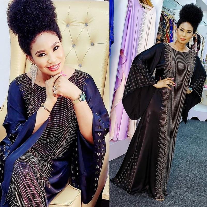 Vestidos africanos para as mulheres muçulmano festa abaya vestido de seda com miçangas maxi bazin vintage manga longa robe vestidos de roupas de áfrica vestido