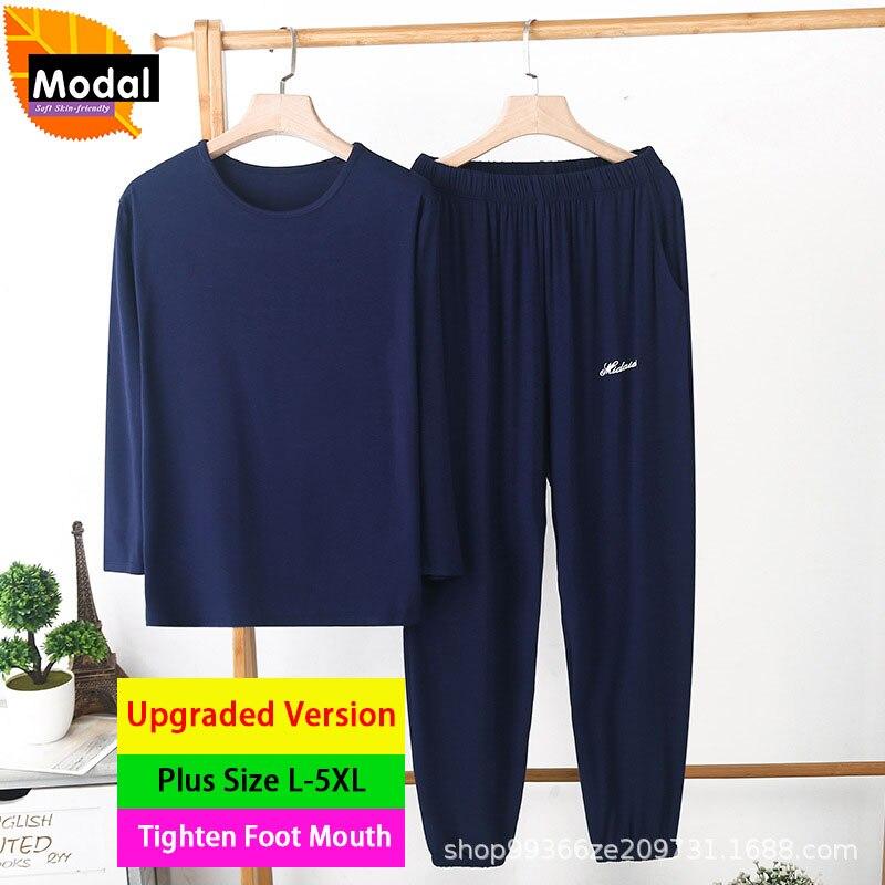 Плюс Размер 5XL Модал Пижамы Для Мужчин Удобный Тонкий Пижамы Свободный Повседневный Дом Одежда Длинный Рукав Пижама Брюки 2 Шт Комплект