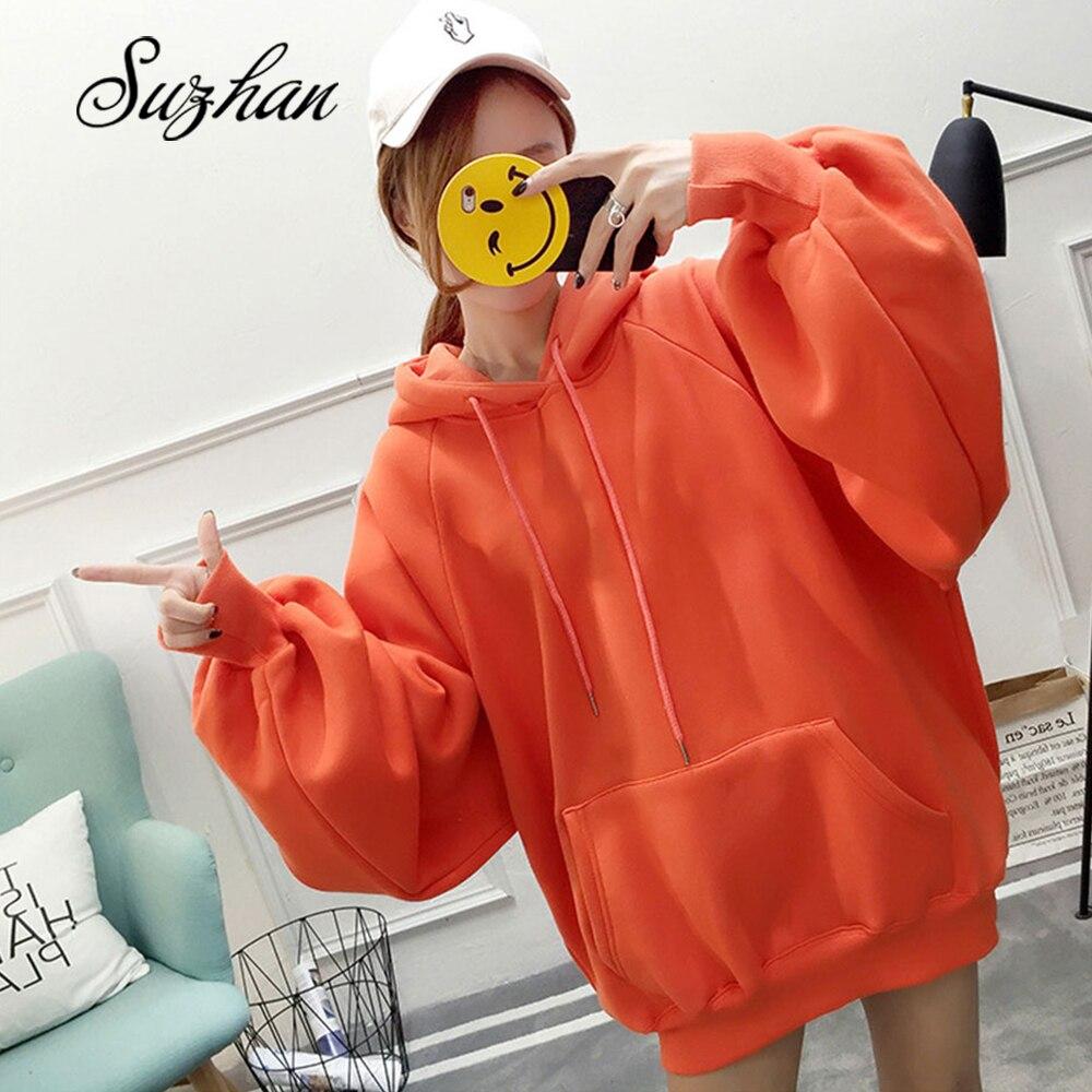 Suzhan Chic liso de talla grande Hoodie mujeres Floral o-cuello femenino Otoño Invierno Casual manga larga jerseys Hoodie Wweatshirts
