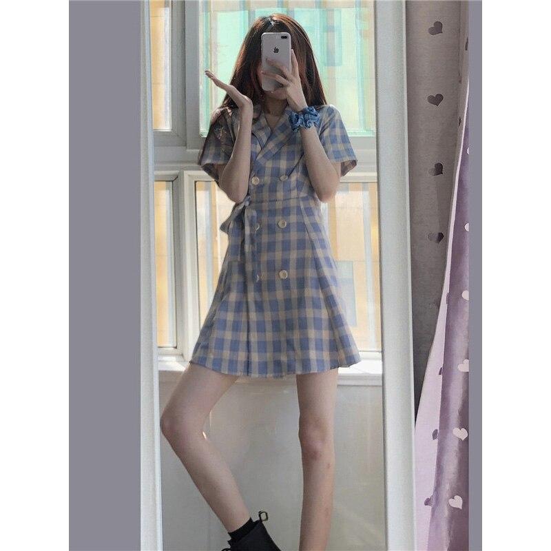 Vestido a cuadros de Super Girl Mori, primavera 2021, con cintura pequeña, adelgazante, Platycodon, Grandiflorum, primer vestido de amor