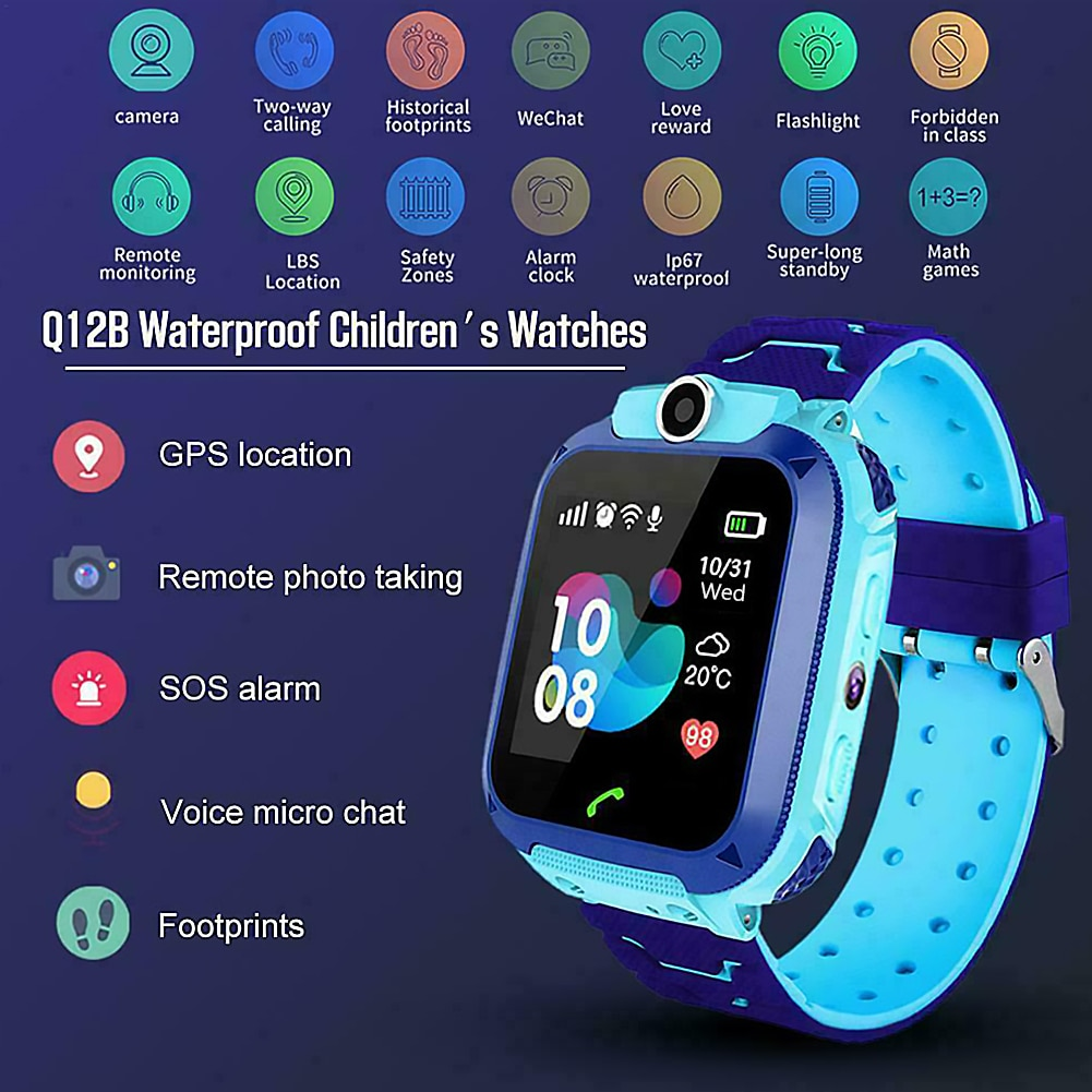 Smart Watches 1.44 inch Touch Screen GPS Location Kids Smart Watch Supports Remote Camera Boys Girls Sports Bracelet