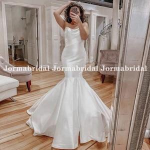 Женское атласное платье с юбкой-годе, белое вечернее платье без шлейфа, без бретелек, для свадьбы, 2021