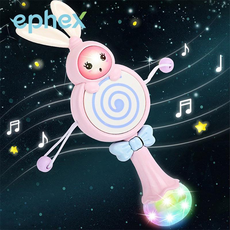 Ephex, conejo encantador, canción Musical, mordedor Conejo, regalo educativo azul/rosa, conejo, juguete para bebé, cartón, Color claro, cama, cantar