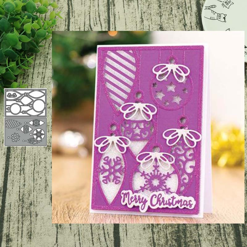 Navidad linterna superposición Fondo METAL troqueles de corte plantilla Scrapbooking tarjeta para álbum de fotos papel repujado artesanía DIY