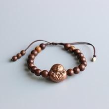 Budismo Tibetano Mala oración Natural pulsera con cuentas de madera un corazón a Buda cobre encanto pulsera hecha a mano OM brazalete