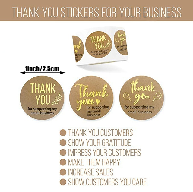 500pcs Thank You for Supporting My Samll Business Kraft Paper 8