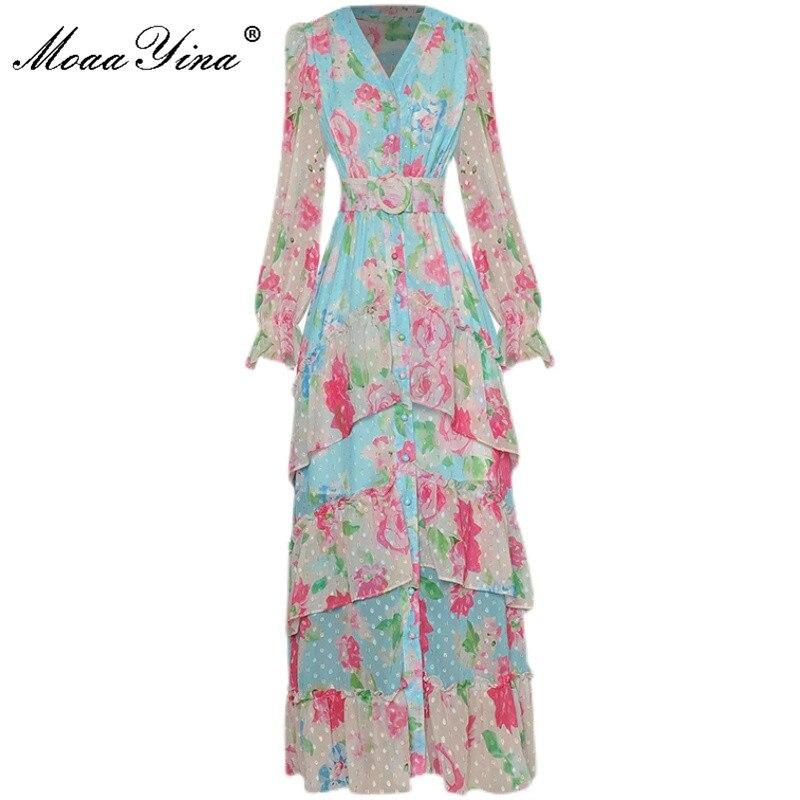 MoaaYina مصمم الخريف فستان طويل المرأة الخامس الرقبة الزنانير واحدة الصدر أنيقة المتتالية كشكش الأزهار طباعة عطلة فستان ماكسي
