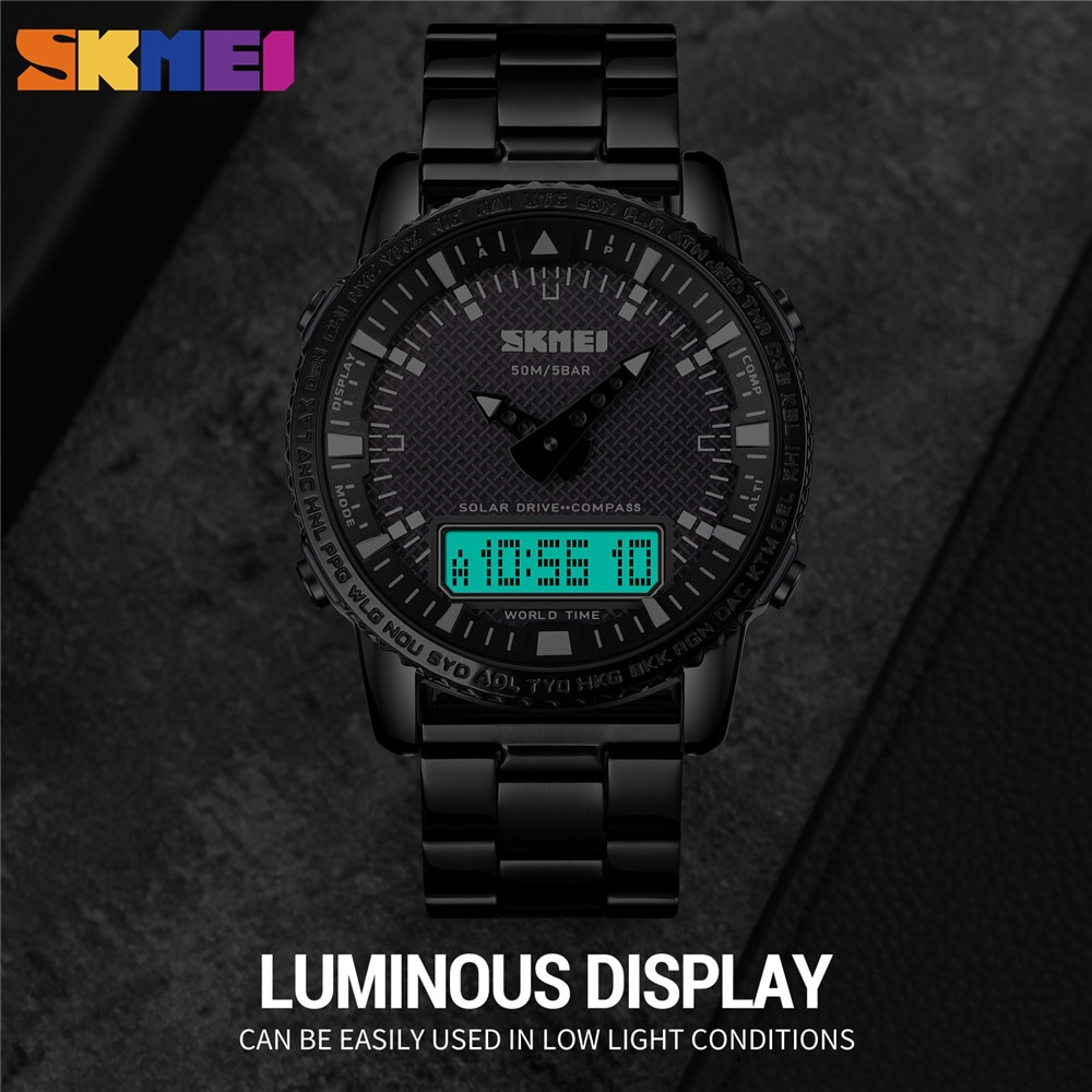 SKMEI Top Military Count Down Compass 5 Alarm Clock Sport Watches Mens Solar Charging Digital Wristwatch Relogio Masculino 1871 enlarge