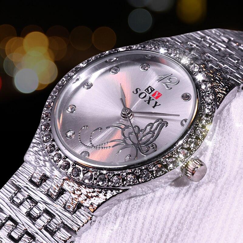 Frauen Quarz Kristall Luxus Uhr Feminino Relogio Armband Frauen Armbanduhr Casual Reloj Gold/Silber Mujer bajan kol saati