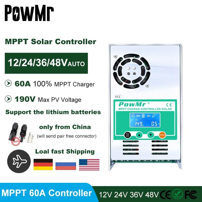 Best MPPT 60A Solar Charge and Discharge Controller 12V 24V 36V 48V for Max 190V PV Input LCD Lead Acid Lithium Battery Charger