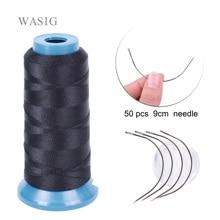 1 Roll black hair weaving thread High Intensity Polyamide Thread 50pcs 9cm weaving needles /C type needles/curved needle