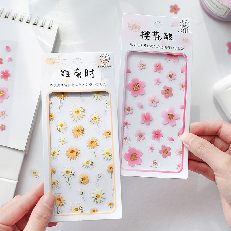2 folhas daisy morango pvc adesivos transparentes para etiqueta diário papelaria álbum bullet journal planejadores