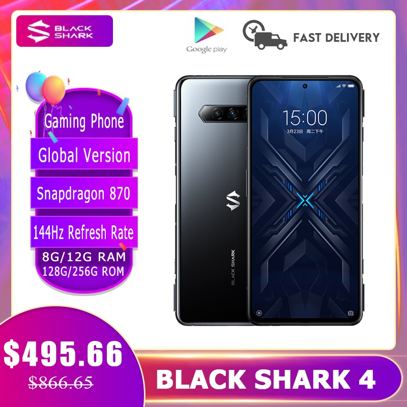 2021 New Black Shark 4  Gaming Phone Snapdragon 870 144Hz Refresh Rate E4 AMOLED Screen DC Dimming UFS 3.1 5G Smartphone