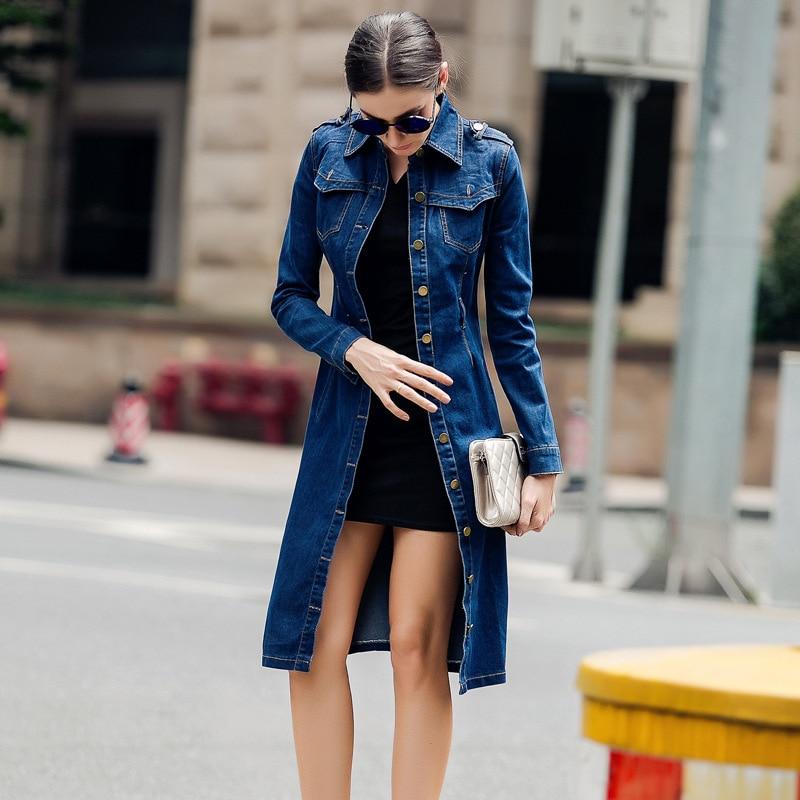 Gabardina largo informal para mujer, sobretodo de algodón, vaquero, Color azul, cruzado,...