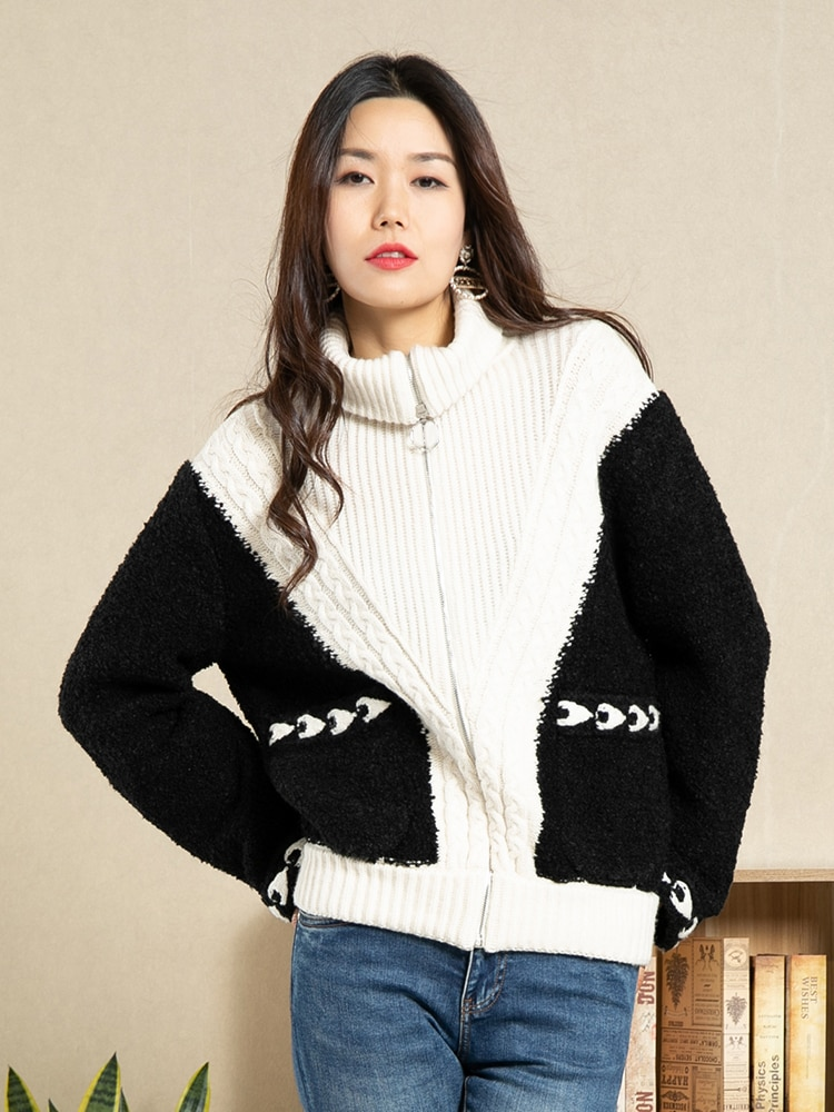 Runway Women Cardigan 2019 Autumn Thick Warm Sweater Coat Zipper-up High Neck White Black Patchwork Twised Knitted Jacket enlarge