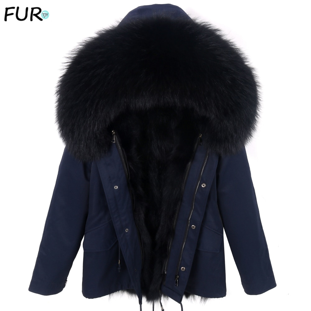 2021 new fox fur coat parkas winter jacket coat Man waterproof parka big real fur collar  natural fox fur liner long outerwear