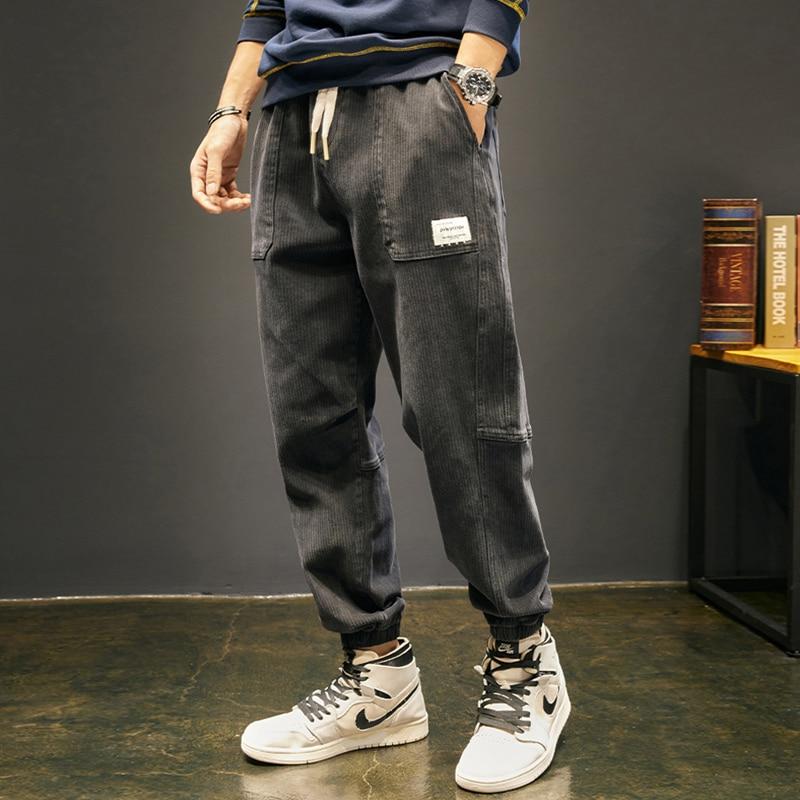 Брюки-карго мужские свободного покроя, Модные Дизайнерские повседневные вельветовые штаны, уличная одежда, Джоггеры в стиле хип-хоп, осень