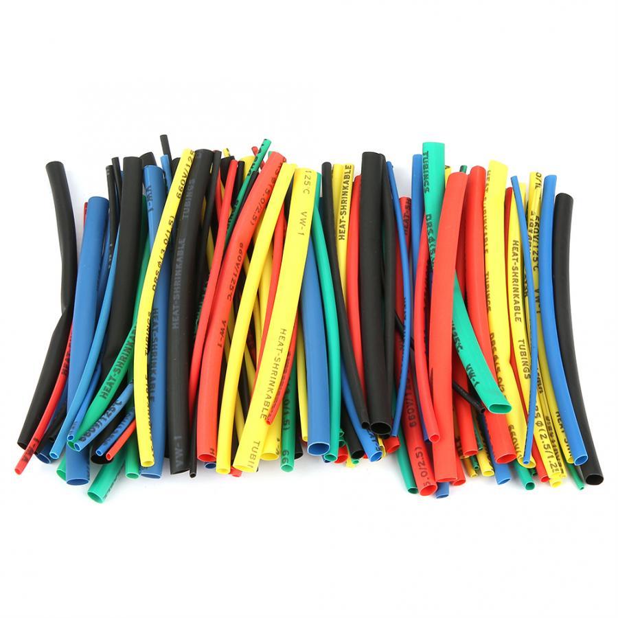 100 pces crosslinked polietileno 5 cores tamanho 100mm tubo do psiquiatra de calor cabo de fio isolado sleeving