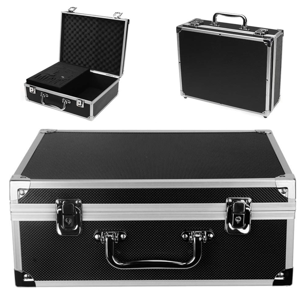 Tattoo Kit Box Case Tattoo Kit Case Box Lock Key Aluminum Makeup Travel Carry Box Storage Case with Sponge for Tattoo Equipment