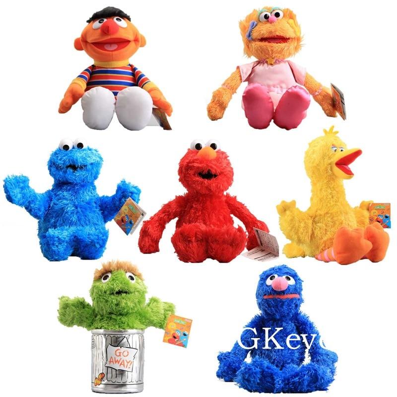 25-42 cm grande tamanho anime sésamo rua brinquedos de pelúcia peluche nova chegada elmo biscoito grover zoe figura bonecas crianças presente de aniversário