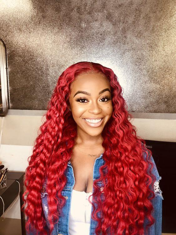 Wine Red Hair Wig Queen Wig Brazilian Deep Curly Hair Remy Human Hair  Wigs 180 Density
