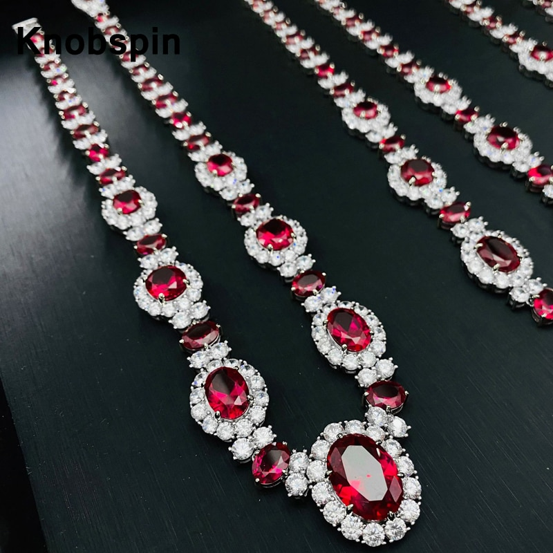 Get Knobspin 13*18MM New Noble Luxury Cultivates Ruby Pendant Full Diamons 925 Sterling Silver Necklace Fine Jewelry Woman Girl Gift