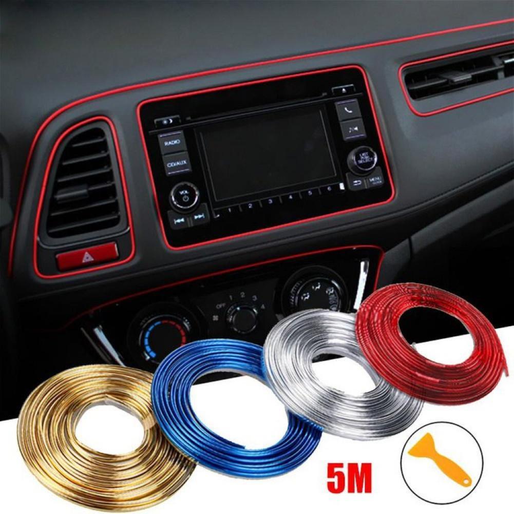 5m Universal para el Interior del coche moldura los bordes de la línea de las tiras del borde del hueco de la puerta del coche accesorios decorativos de la etiqueta engomada de la línea