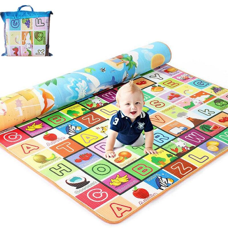 200*180cm Foldable Cartoon Baby Play Mat Eva Puzzle Children's Mat Baby Climbing Pad Kids Rug Baby Games Mats Send Storage Bag
