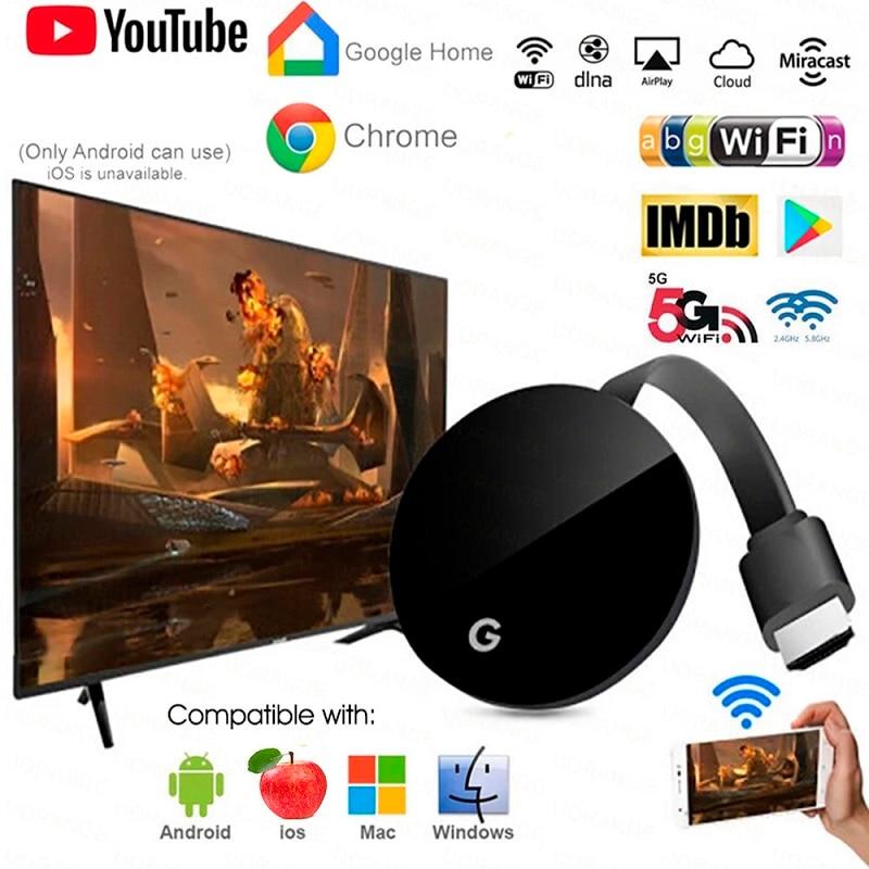 Vara de tv hdmi g7s 4k ultra sem fio anycast miracast airplay dupla wifi para youtube google chromecast 3 tv vara para ios android