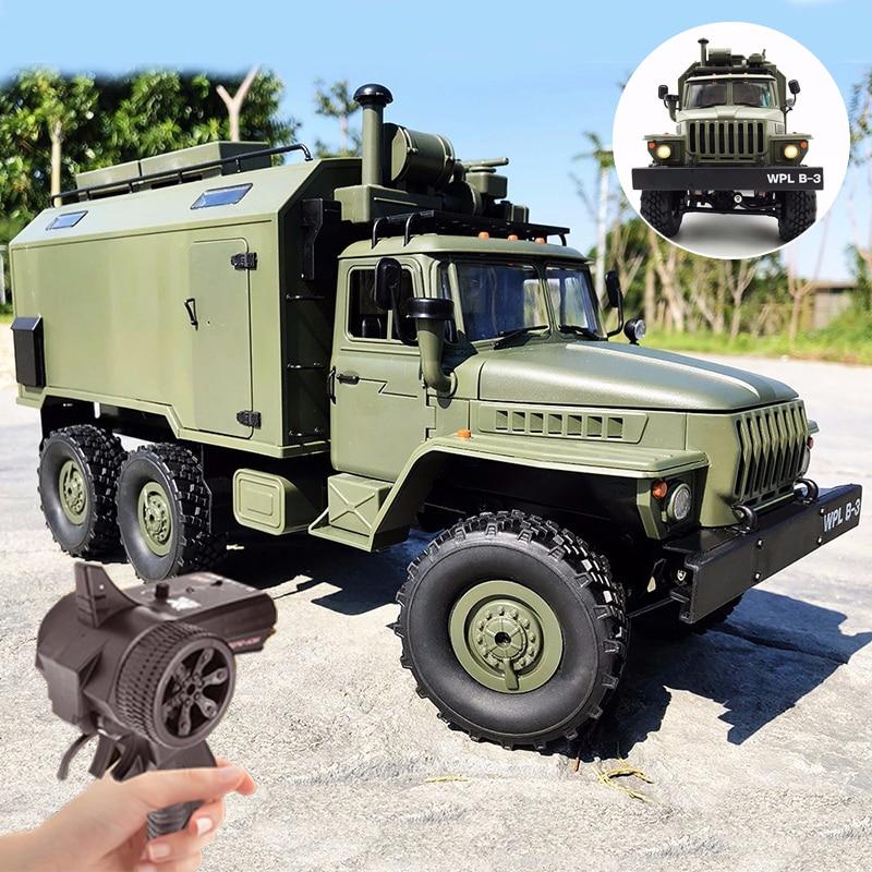 Wpl b36 1/16 ural soviético caminhão de comando militar controle remoto 6 roda drive 0ff-road rc caminhão militar esteira de rocha kit rtr