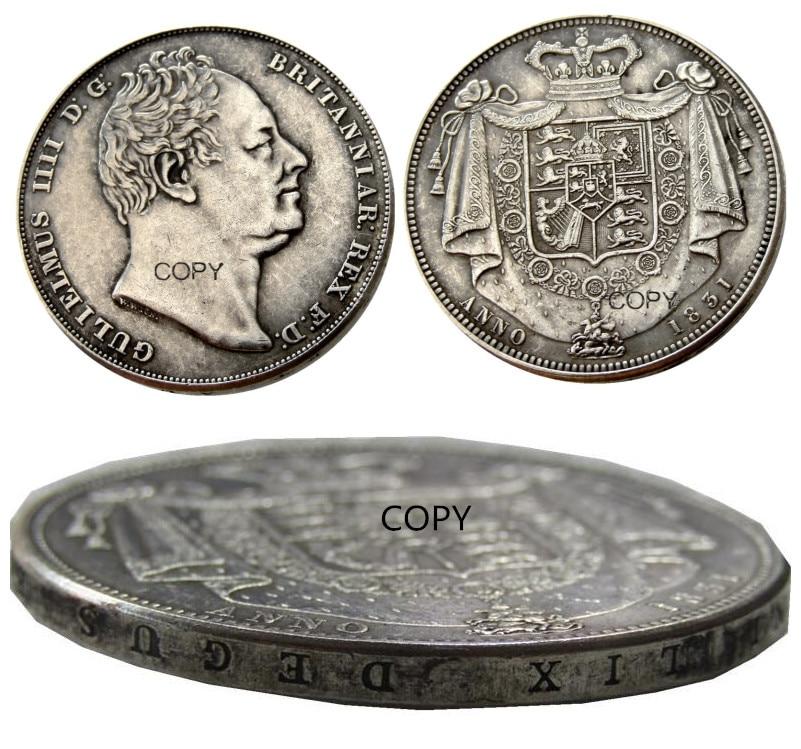 UF (81) Gran Bretaña William IV corona a prueba de plata 1831 plateado carta borde copia moneda