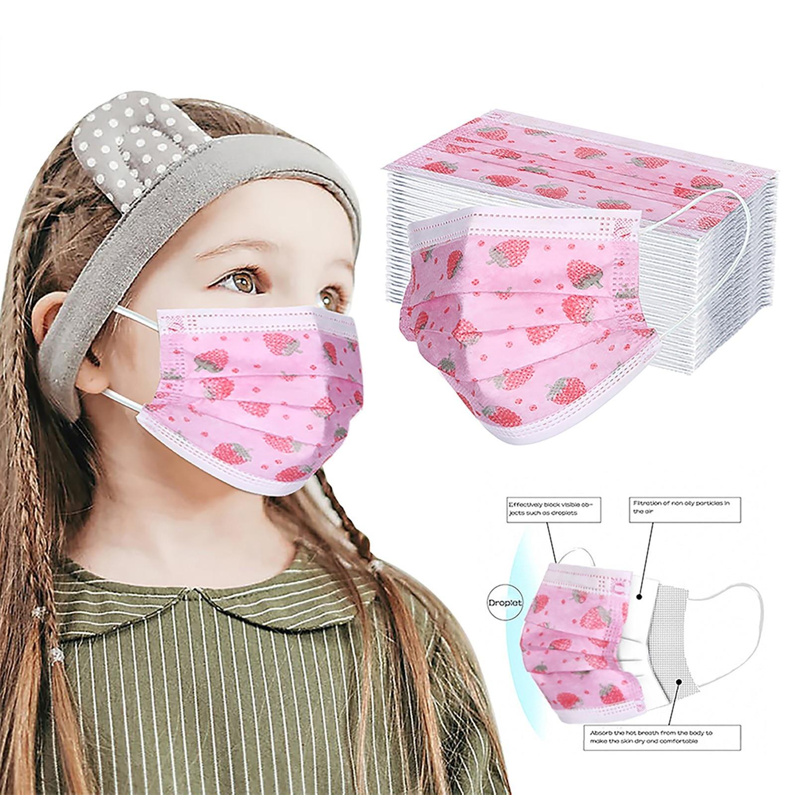30/60 шт., одноразовые маски для лица с рисунком клубники