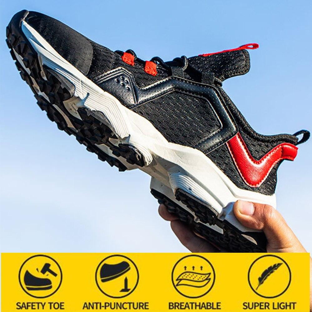 أحذية أمان جديدة للرجال تنفس مكافحة تحطيم مكافحة طعنة ومقاومة للاهتراء أحذية عمل السلامة الرياضية عادية واقية