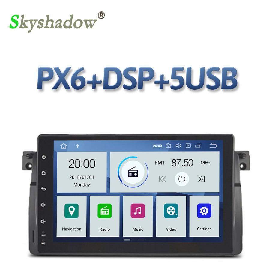 PX6 IPS DSP 9 pulgadas Android 10 6 Core 4GB + 64GB reproductor de DVD de coche Radio RDS WiFi GPS mapa Bluetooth para BMW 3 E46 M3 Rover 75 MG