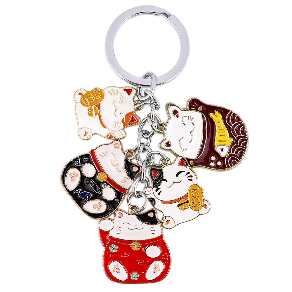 aliexpress.com - DZ1745 Cartoon Japanese lucky Cat Pendant Cute Keychains Key Chain Keys Ring Key Holder Creativity Enamel Charm Jewelry Gifts