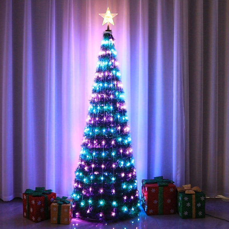 1.5M PVC Foldable Christmas Tree with Tree Top Star Point Control Led Copper Wire Tree Light 244LED