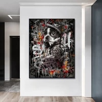 modern art graffiti animals dog monkey poster painting canvas print wall art picture for living room home decor nordic frameless