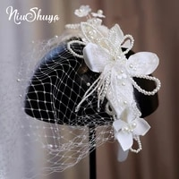 niushuya exquisite new satin bow hairband face veil flower pearl beading decorated hairwear wedding hair accessories