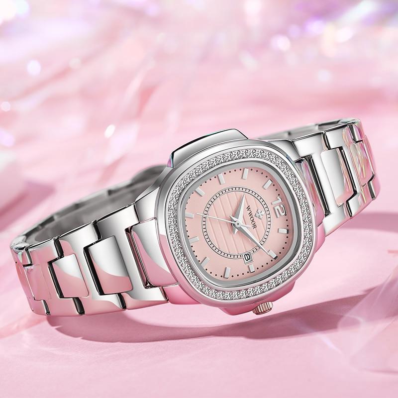 WWOOR Fashion Top Brand Diamond Ladies Quartz Watch High Quality Stainless Steel Waterproof Drss Women Gift Watches Montre Femme enlarge